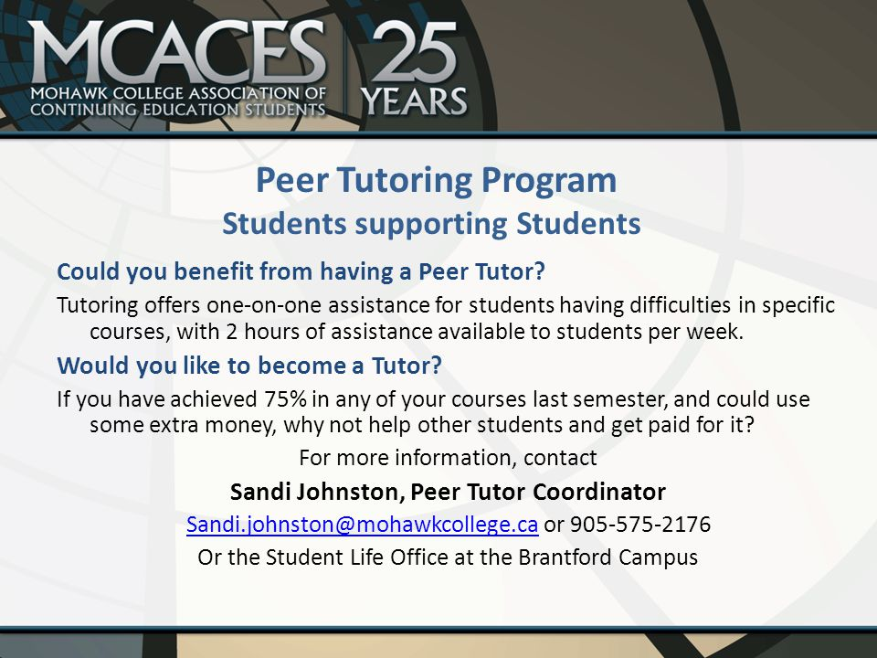Could you benefit from having a Peer Tutor.