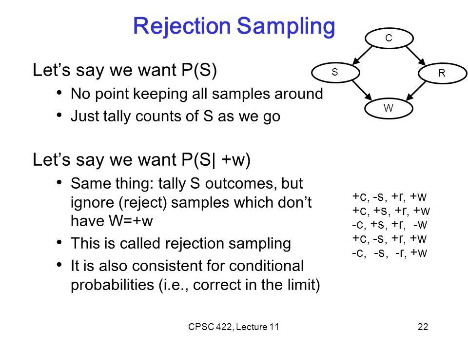 Rejection Sampling Let's say we want P(S) No point keeping all samples around Just tally counts of S as we go Let's say we want P(S| +w) Same thing: t