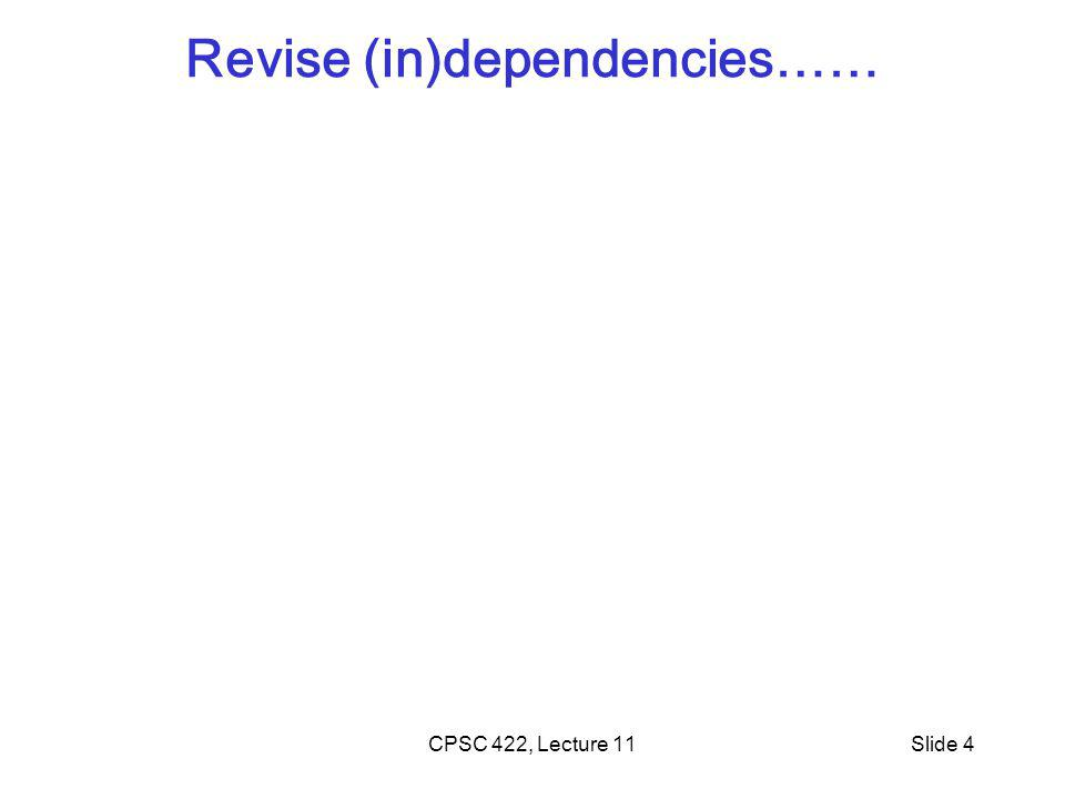 Revise (in)dependencies…… CPSC 422, Lecture 11Slide 4