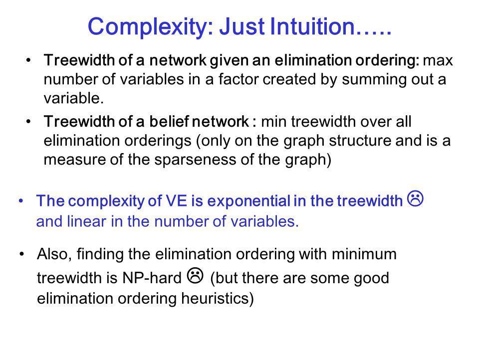 CPSC 322, Lecture 30Slide 9 Complexity: Just Intuition….. Treewidth of a network given an elimination ordering: max number of variables in a factor cr