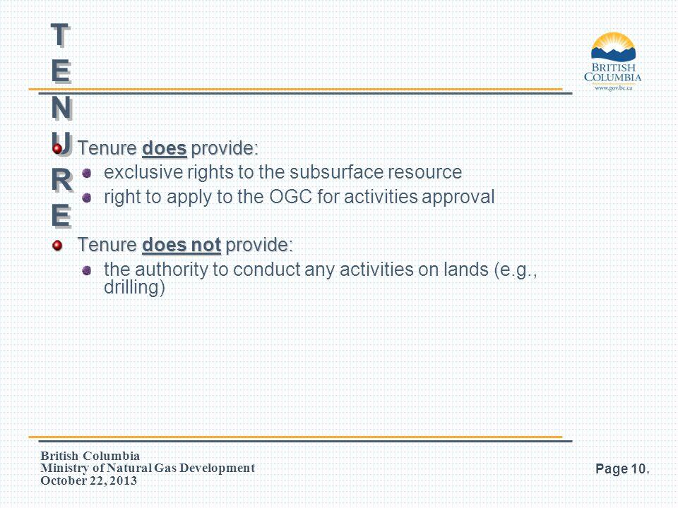 British Columbia Ministry of Natural Gas Development October 22, 2013 Page 10. PNG TENUREPNG TENURE PNG TENUREPNG TENURE Tenure does provide: exclusiv
