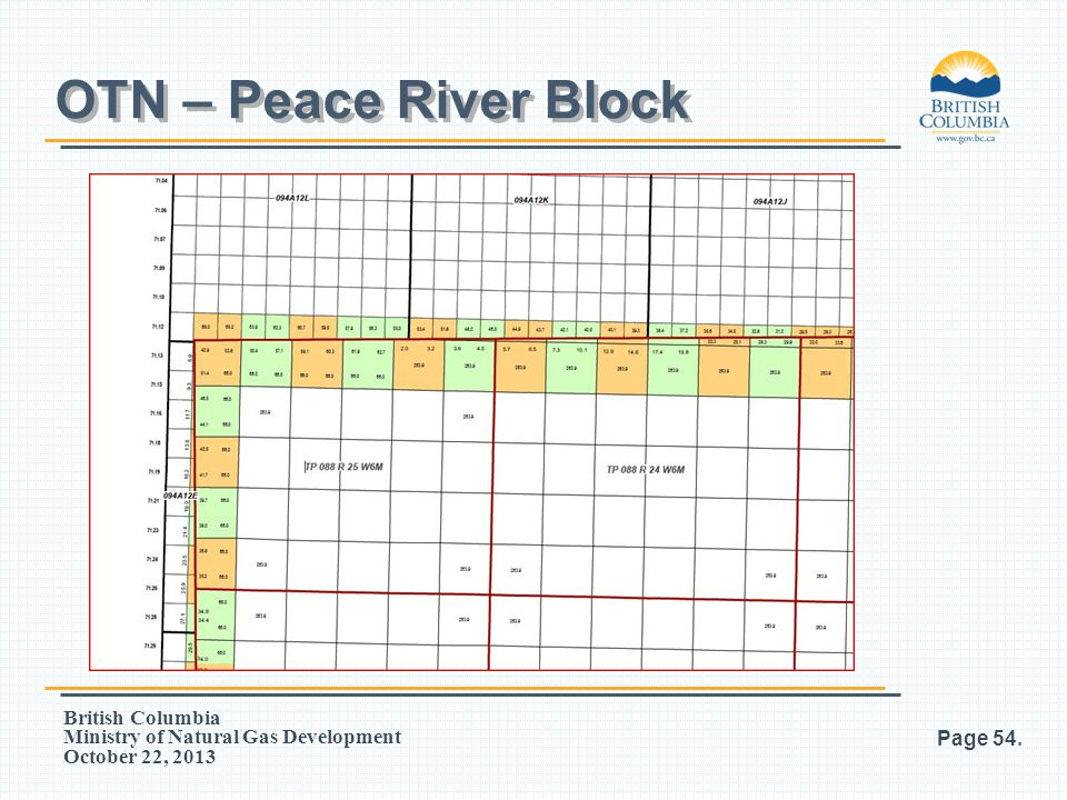 British Columbia Ministry of Natural Gas Development October 22, 2013 Page 54. OTN – Peace River Block