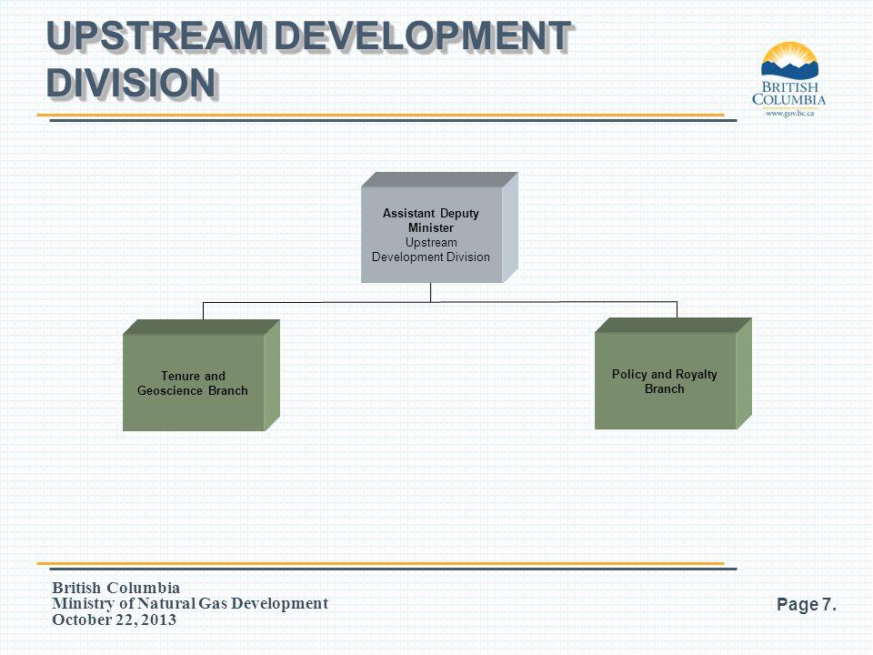 British Columbia Ministry of Natural Gas Development October 22, 2013 UPSTREAM DEVELOPMENT DIVISION Page 7. Assistant Deputy Minister Upstream Develop
