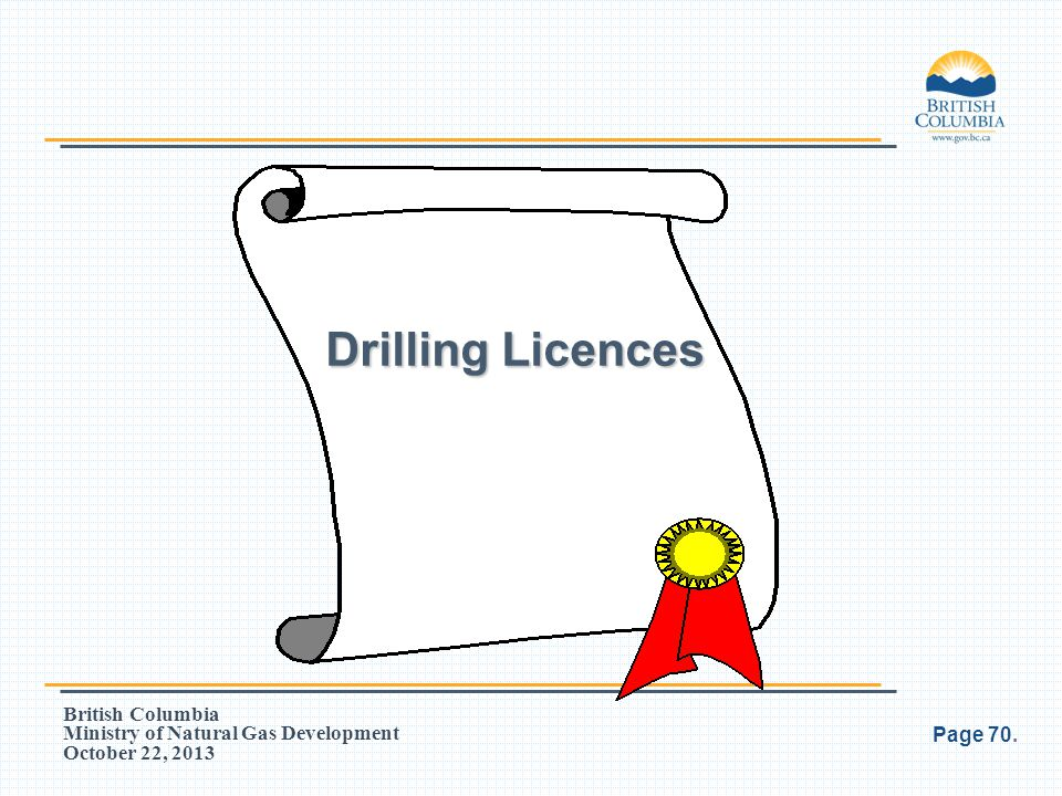 British Columbia Ministry of Natural Gas Development October 22, 2013 Drilling Licences Page 70.