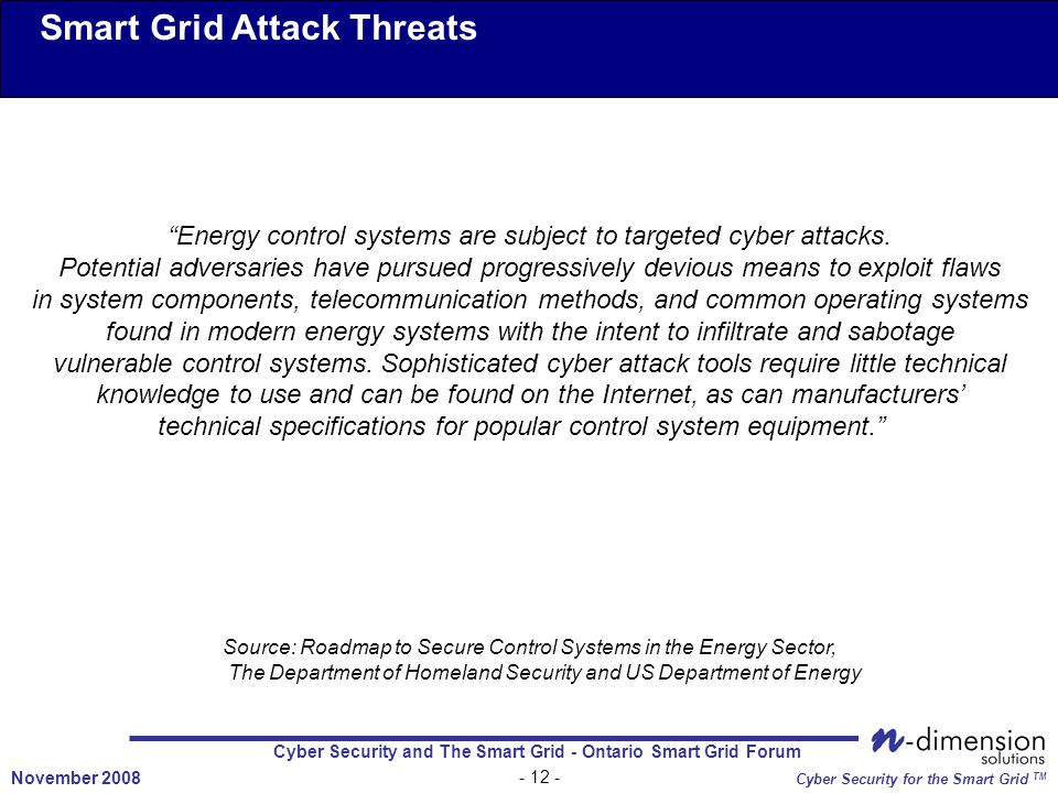Cyber Security and The Smart Grid - Ontario Smart Grid Forum - 12 - November 2008 Cyber Security for the Smart Grid TM Smart Grid Attack Threats Energy control systems are subject to targeted cyber attacks.