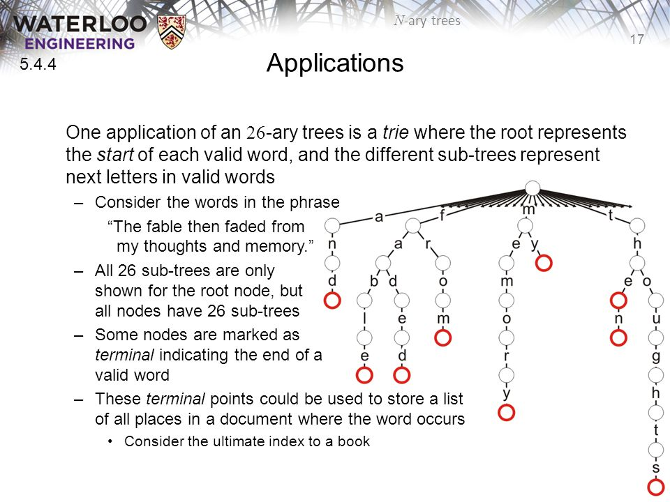 17 N -ary trees Applications One application of an 26 -ary trees is a trie where the root represents the start of each valid word, and the different sub-trees represent next letters in valid words –Consider the words in the phrase The fable then faded from my thoughts and memory. –All 26 sub-trees are only shown for the root node, but all nodes have 26 sub-trees –Some nodes are marked as terminal indicating the end of a valid word –These terminal points could be used to store a list of all places in a document where the word occurs Consider the ultimate index to a book 5.4.4