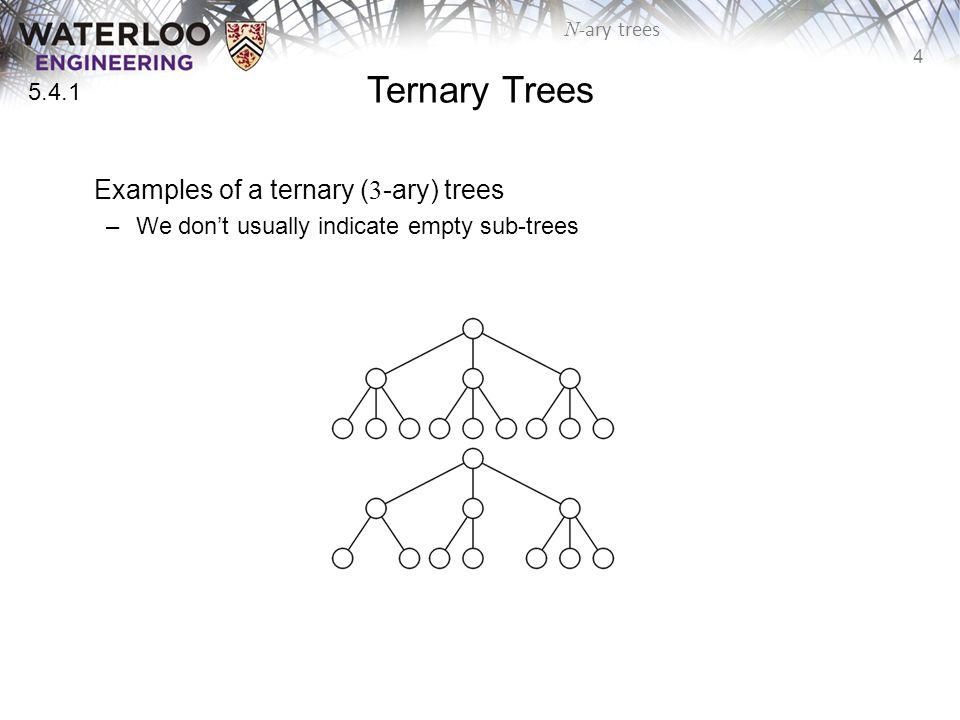 4 N -ary trees Ternary Trees Examples of a ternary ( 3 -ary) trees –We don't usually indicate empty sub-trees 5.4.1