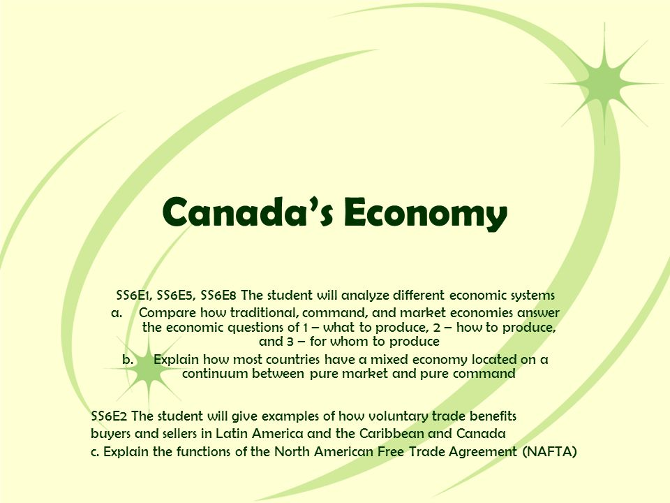 Canada's Economy SS6E1, SS6E5, SS6E8 The student will analyze different economic systems a.Compare how traditional, command, and market economies answ