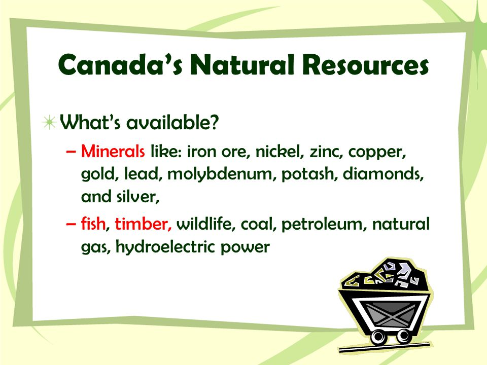 Canada's Natural Resources What's available? –Minerals like: iron ore, nickel, zinc, copper, gold, lead, molybdenum, potash, diamonds, and silver, –fi