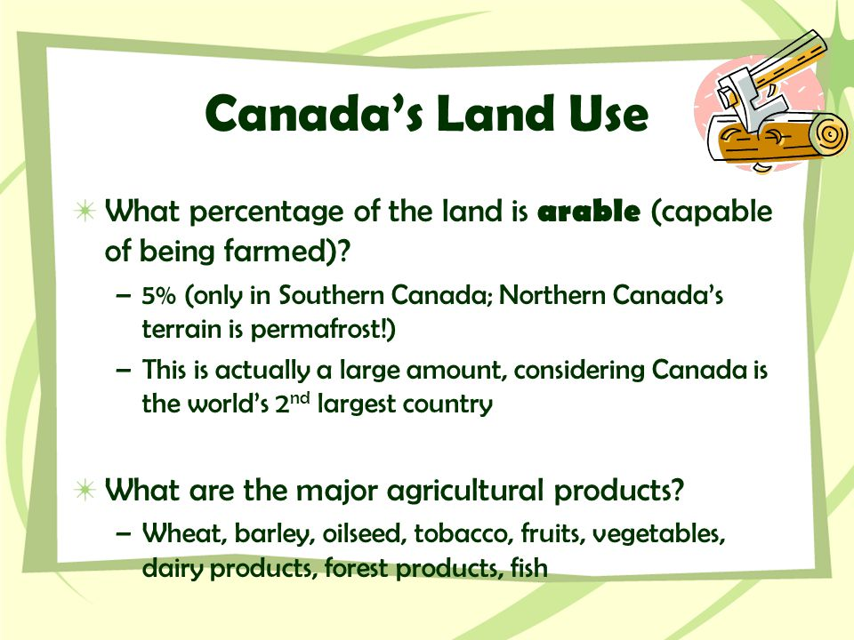 Canada's Land Use What percentage of the land is arable (capable of being farmed)? –5% (only in Southern Canada; Northern Canada's terrain is permafro