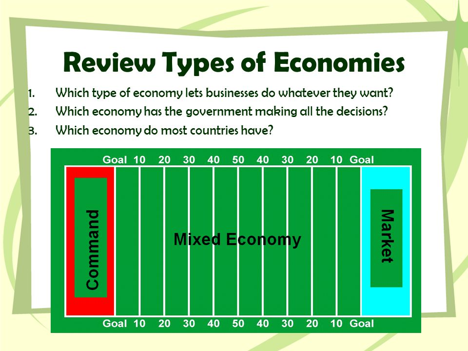 Review Types of Economies 1.Which type of economy lets businesses do whatever they want? 2.Which economy has the government making all the decisions?