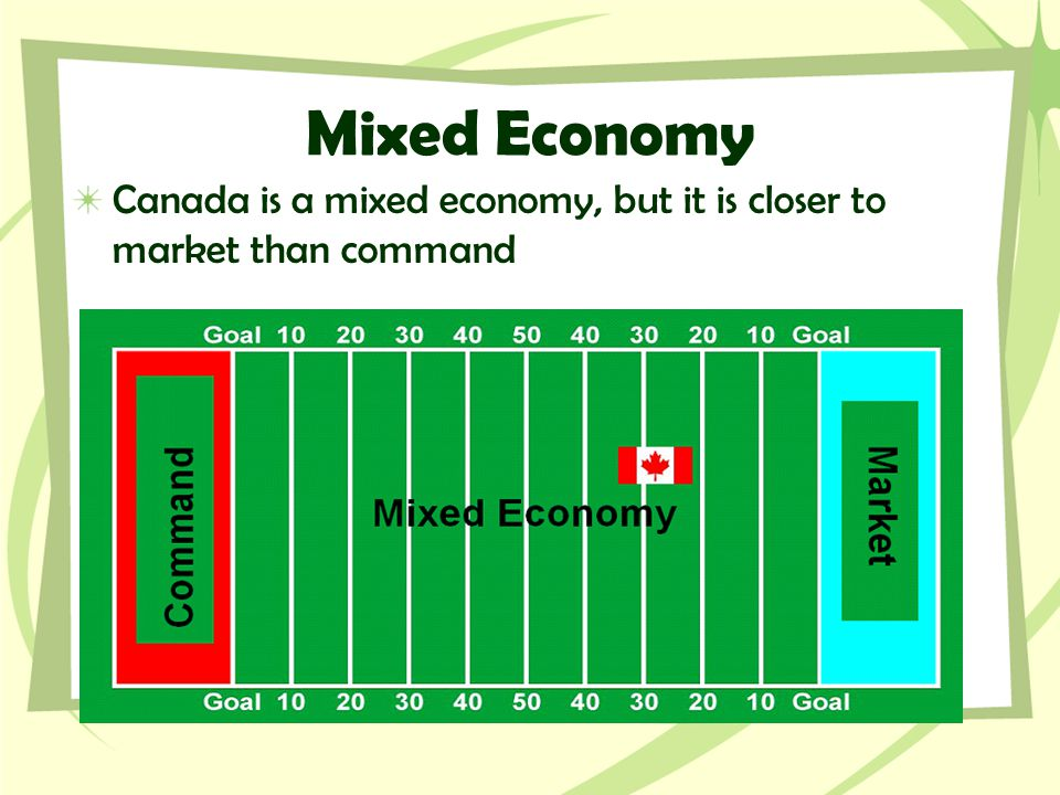 Mixed Economy Canada is a mixed economy, but it is closer to market than command
