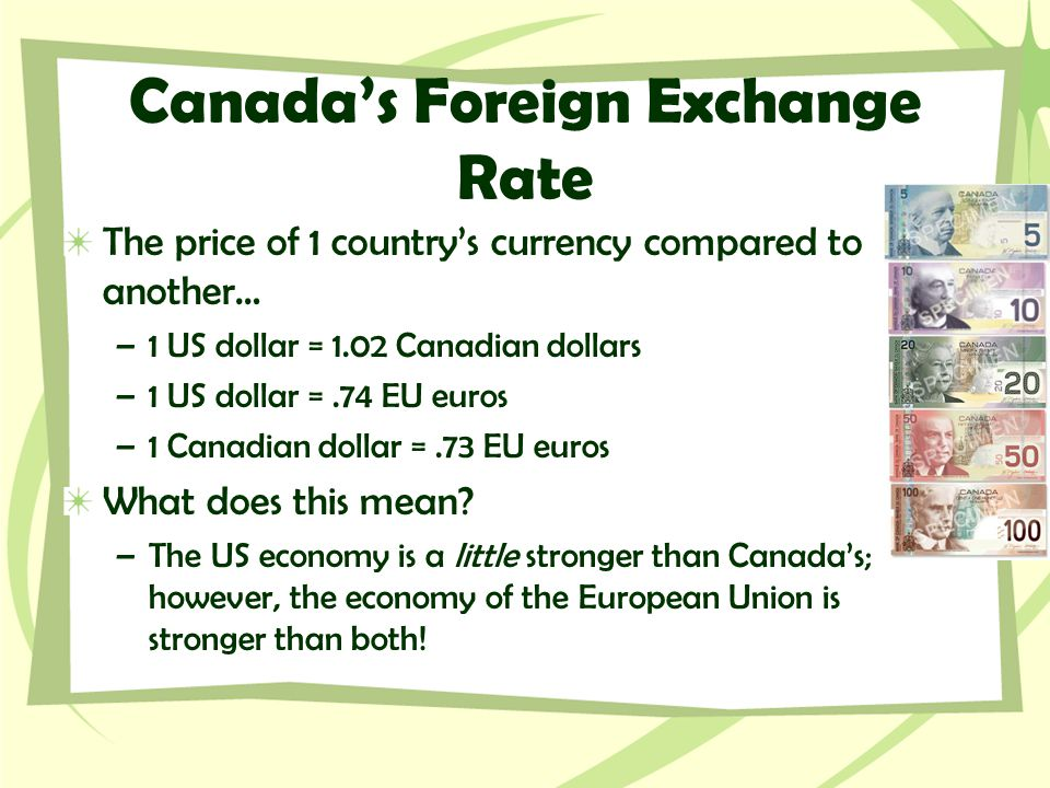 Canada's Foreign Exchange Rate The price of 1 country's currency compared to another… –1 US dollar = 1.02 Canadian dollars –1 US dollar =.74 EU euros