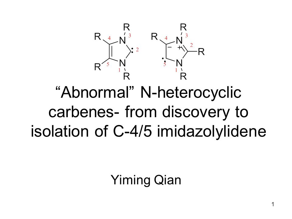 22 C-2 vs C-4 imidazolylidene Due to lower pKa, C-2 are usually carbene centres Crabtree discovered an iridium metal hydride complex that contains a C-4 metalated abnormal NHC How does this happen.