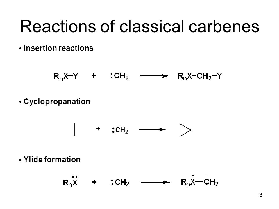 4 Singlet vs triplet carbenes ΔGst=E(electronic repulsion)-E(electron promotion) Dependent on electronic and steric factors of R's Singlets are like carbocation and carbanion in one Triplets are diradicals