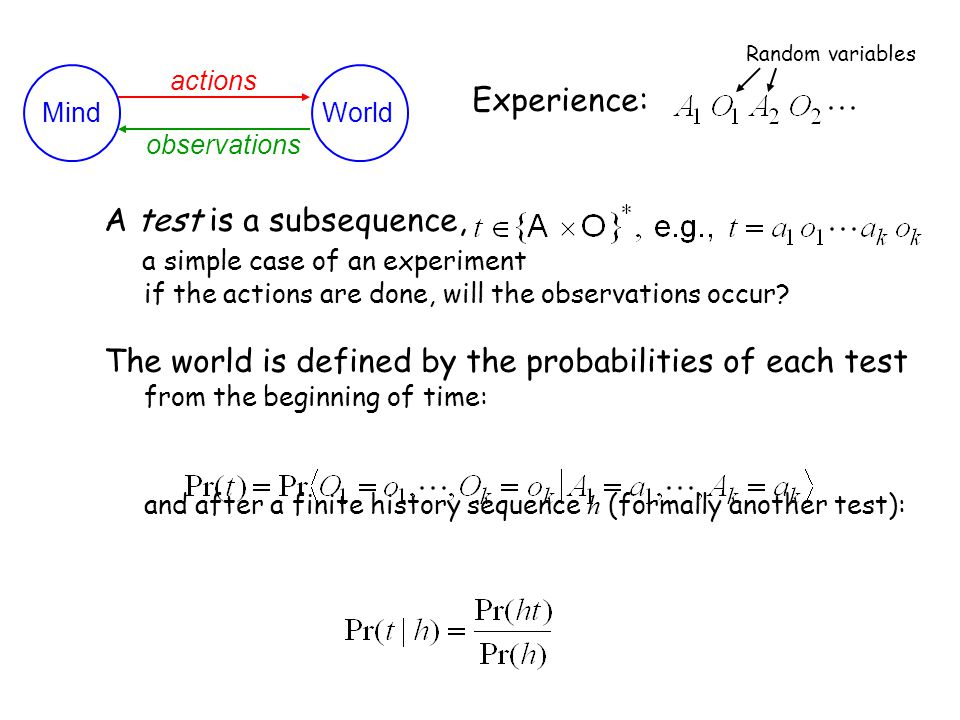 PSR Formalism 1 MindWorld actions observations Experience: Random variables A test is a subsequence, a simple case of an experiment if the actions are done, will the observations occur.
