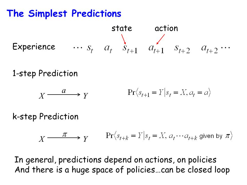 Experience 1-step Prediction stateaction XY a k-step Prediction XY  In general, predictions depend on actions, on policies And there is a huge space of policies…can be closed loop The Simplest Predictions
