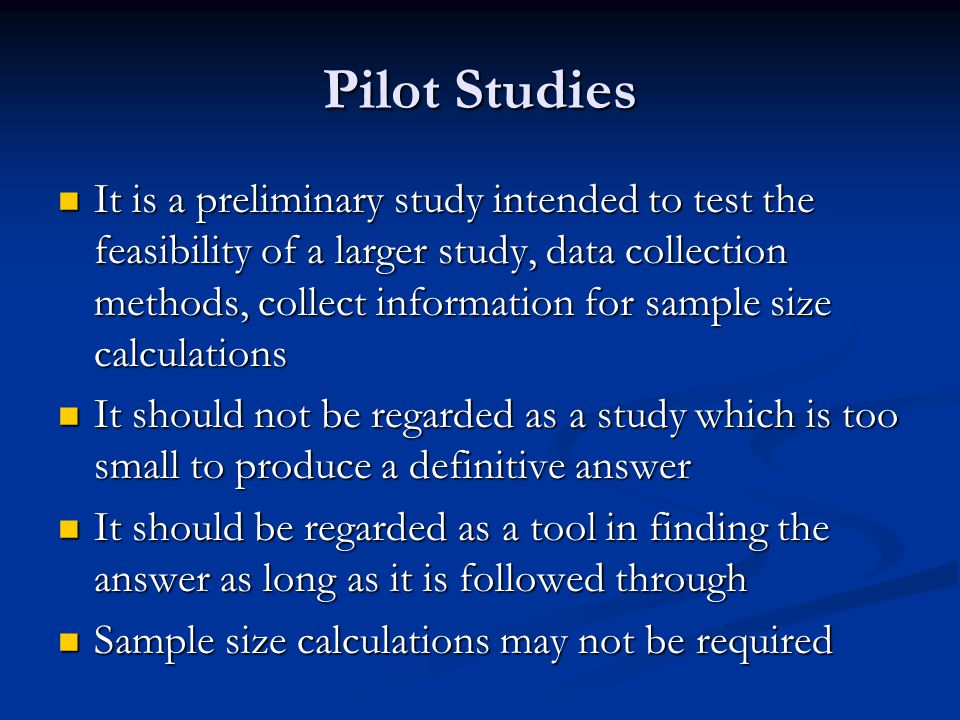 Reporting Sample Size Calculations Clear statement of the primary objective Clear statement of the primary objective The desired level of significance The desired level of significance The desired power The desired power The statistics that will be used for analysis The statistics that will be used for analysis Whether the test would be one or two-tailed Whether the test would be one or two-tailed The smallest difference The smallest difference Smallest clinically important difference Smallest clinically important difference The difference that investigators think is worth detecting The difference that investigators think is worth detecting The difference that the investigators think is likely to be detected The difference that the investigators think is likely to be detected