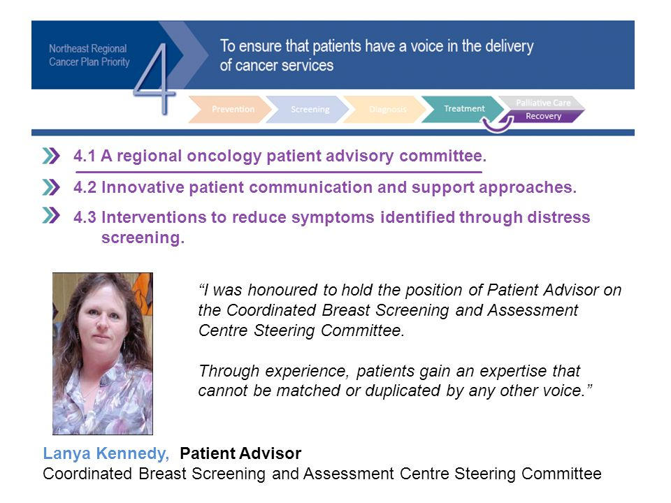 4.1 A regional oncology patient advisory committee. 4.2 Innovative patient communication and support approaches. 4.3 Interventions to reduce symptoms