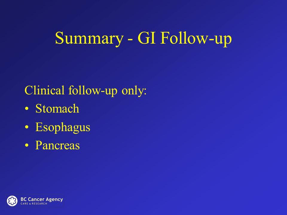 Summary - GI Follow-up Clinical follow-up only: Stomach Esophagus Pancreas