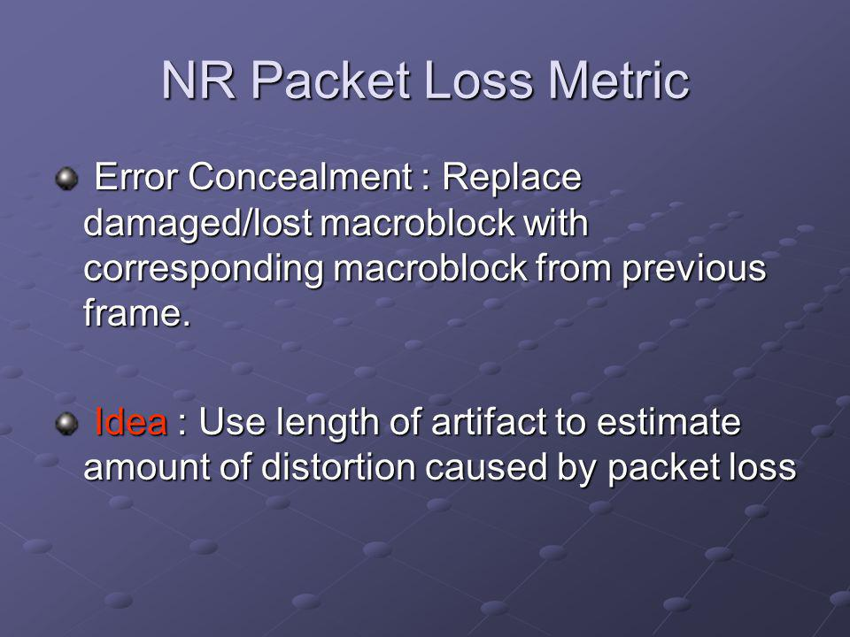 NR Packet Loss Metric Error Concealment : Replace damaged/lost macroblock with corresponding macroblock from previous frame.
