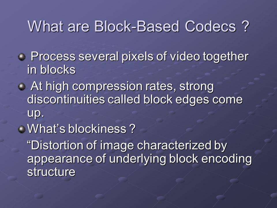 What are Block-Based Codecs .