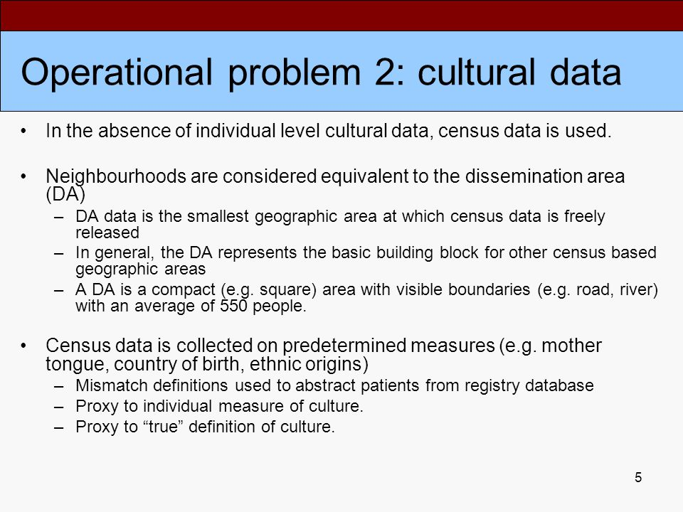 5 Operational problem 2: cultural data In the absence of individual level cultural data, census data is used.