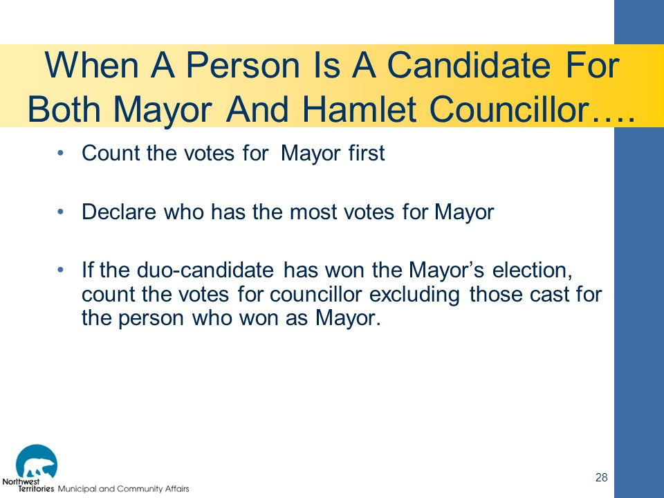 When A Person Is A Candidate For Both Mayor And Hamlet Councillor…. Count the votes for Mayor first Declare who has the most votes for Mayor If the du