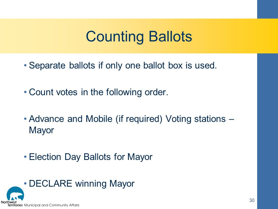 Counting Ballots Separate ballots if only one ballot box is used. Count votes in the following order. Advance and Mobile (if required) Voting stations