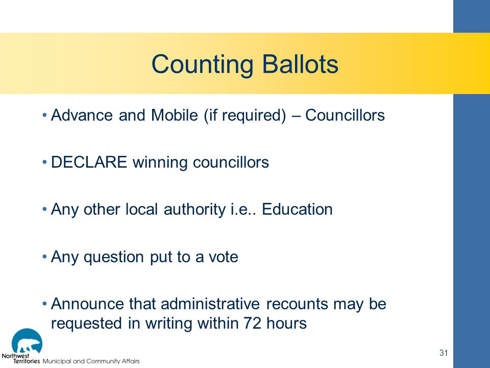 Counting Ballots Advance and Mobile (if required) – Councillors DECLARE winning councillors Any other local authority i.e.. Education Any question put