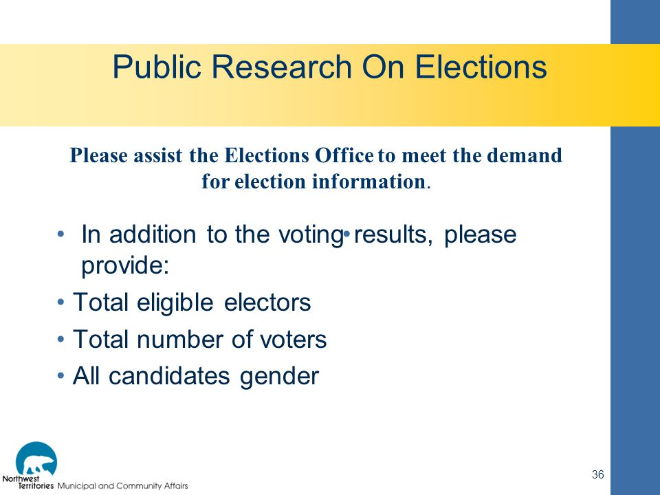 Public Research On Elections In addition to the voting results, please provide: Total eligible electors Total number of voters All candidates gender 3