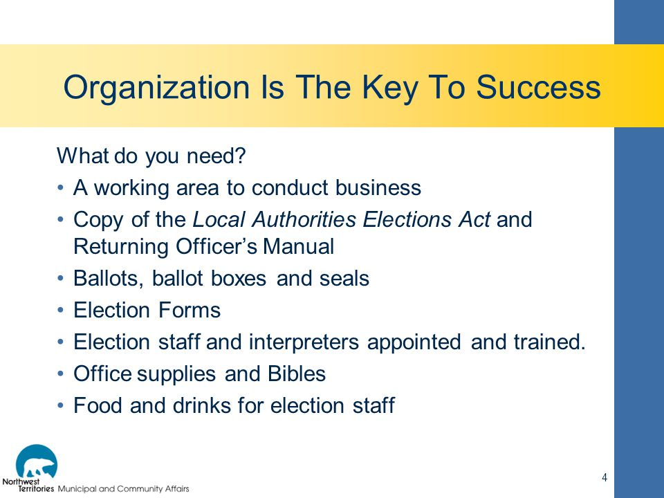 Organization Is The Key To Success What do you need? A working area to conduct business Copy of the Local Authorities Elections Act and Returning Offi