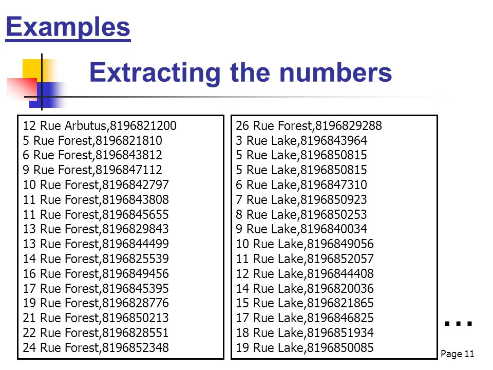 Page 11 Examples Extracting the numbers 12 Rue Arbutus,8196821200 5 Rue Forest,8196821810 6 Rue Forest,8196843812 9 Rue Forest,8196847112 10 Rue Forest,8196842797 11 Rue Forest,8196843808 11 Rue Forest,8196845655 13 Rue Forest,8196829843 13 Rue Forest,8196844499 14 Rue Forest,8196825539 16 Rue Forest,8196849456 17 Rue Forest,8196845395 19 Rue Forest,8196828776 21 Rue Forest,8196850213 22 Rue Forest,8196828551 24 Rue Forest,8196852348 … 26 Rue Forest,8196829288 3 Rue Lake,8196843964 5 Rue Lake,8196850815 6 Rue Lake,8196847310 7 Rue Lake,8196850923 8 Rue Lake,8196850253 9 Rue Lake,8196840034 10 Rue Lake,8196849056 11 Rue Lake,8196852057 12 Rue Lake,8196844408 14 Rue Lake,8196820036 15 Rue Lake,8196821865 17 Rue Lake,8196846825 18 Rue Lake,8196851934 19 Rue Lake,8196850085