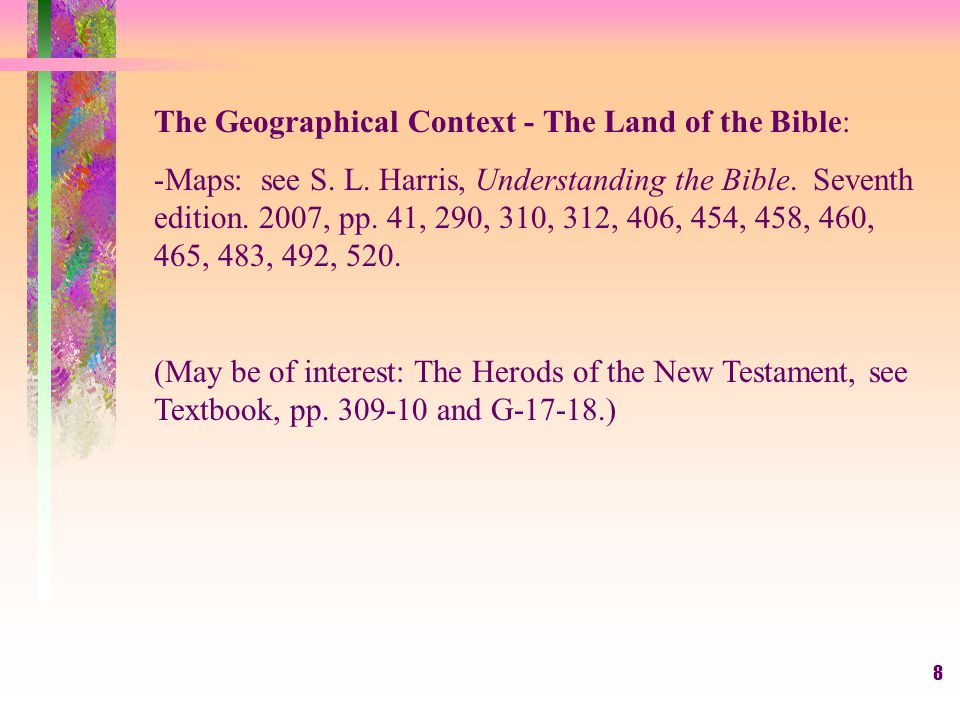 8 The Geographical Context - The Land of the Bible: -Maps: see S.