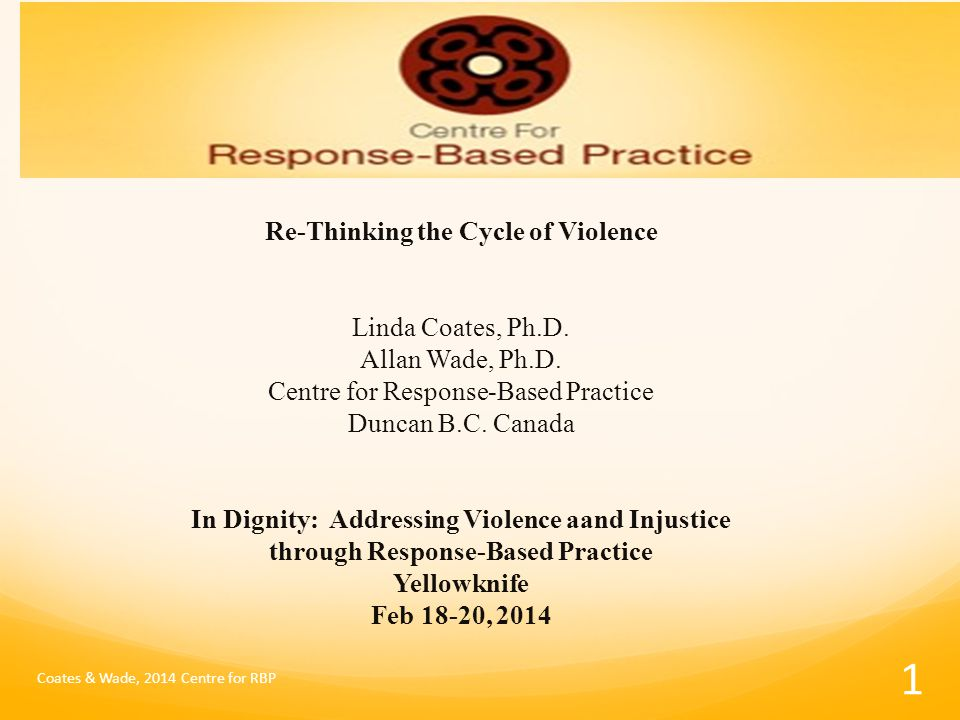 Re-Thinking the Cycle of Violence Linda Coates, Ph.D.
