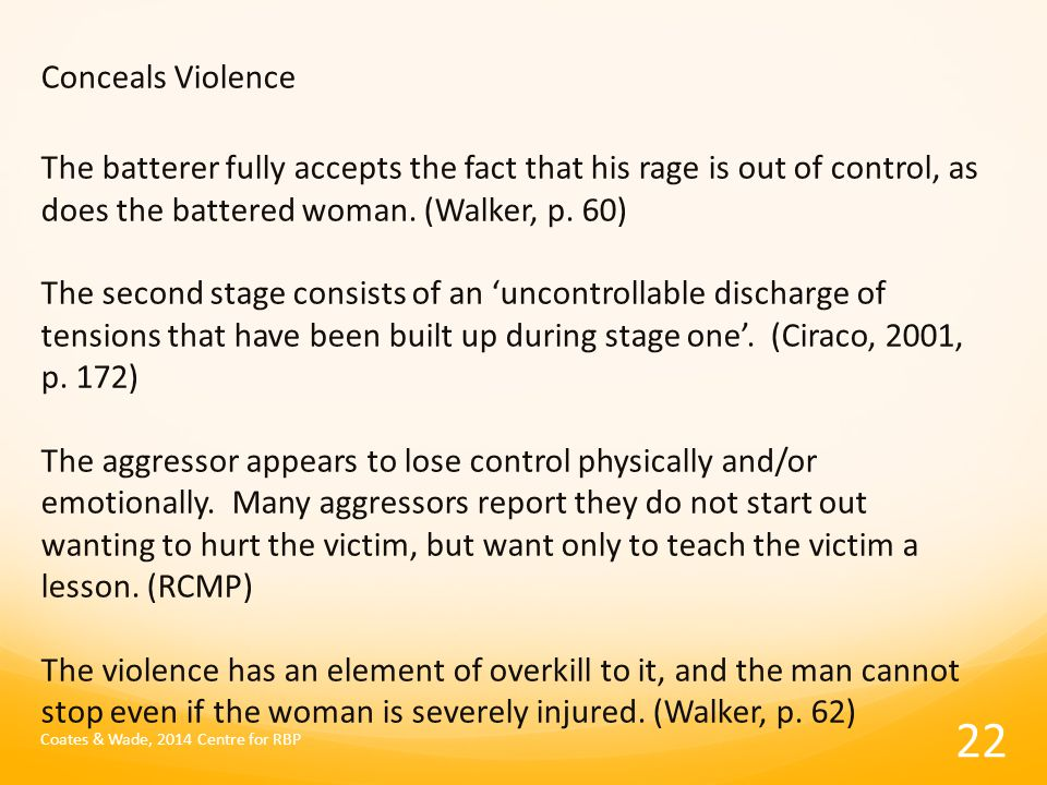 Conceals Violence The batterer fully accepts the fact that his rage is out of control, as does the battered woman.
