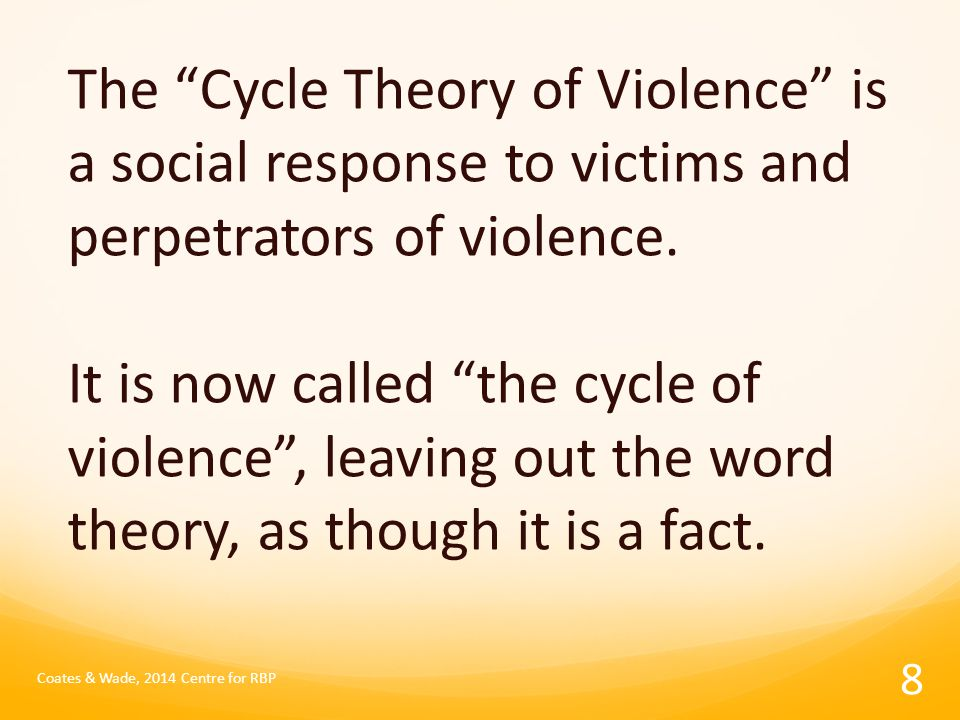 The Cycle Theory of Violence is a social response to victims and perpetrators of violence.