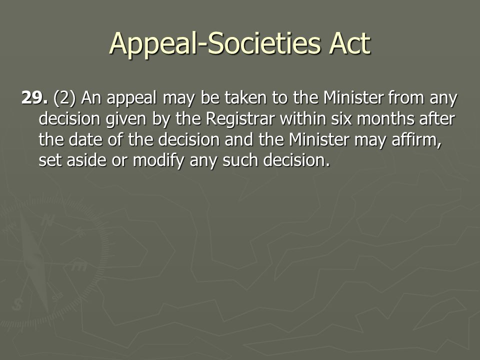 Appeal-Societies Act 29.