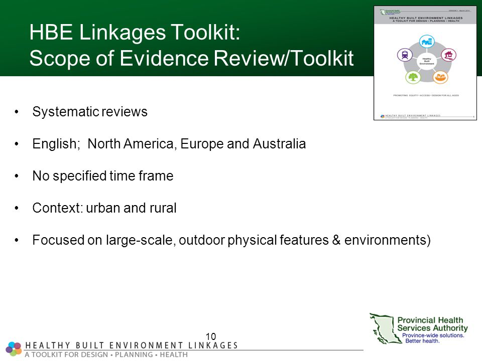 HBE Linkages Toolkit: Scope of Evidence Review/Toolkit Systematic reviews English; North America, Europe and Australia No specified time frame Context: urban and rural Focused on large-scale, outdoor physical features & environments) 10