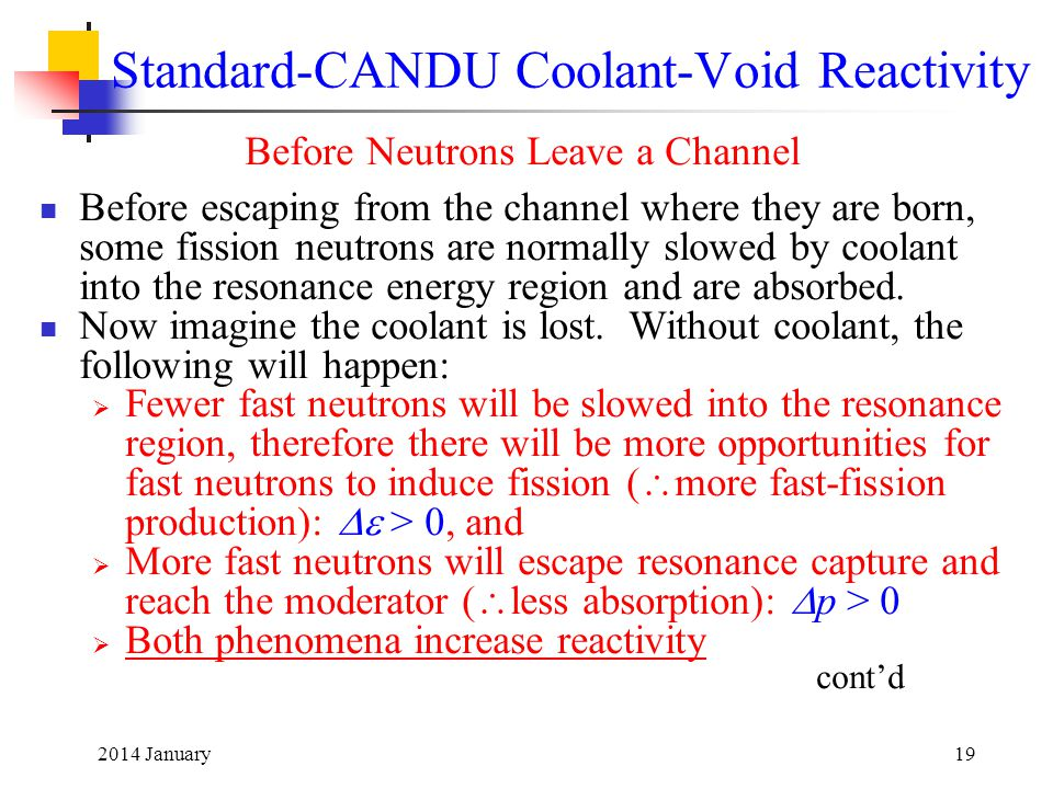 2014 January19 Standard-CANDU Coolant-Void Reactivity Before Neutrons Leave a Channel Before escaping from the channel where they are born, some fissi