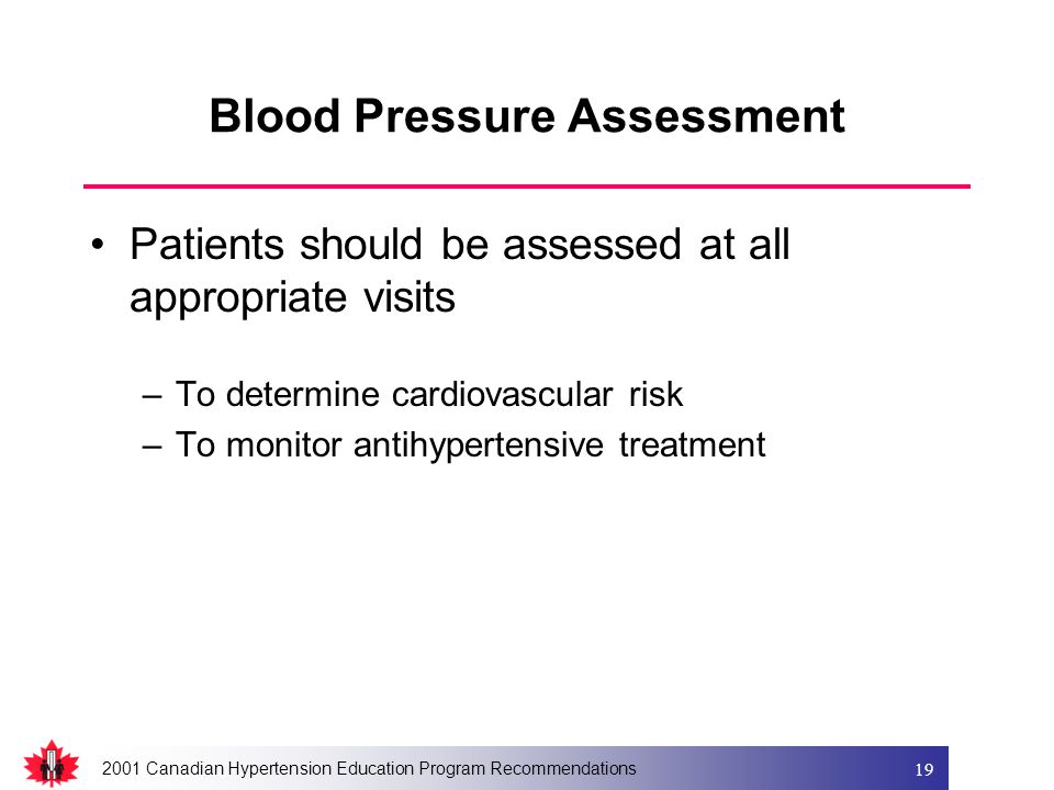 2001 Canadian Hypertension Education Program Recommendations 19 Blood Pressure Assessment Patients should be assessed at all appropriate visits –To de