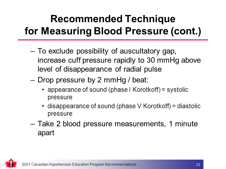 2001 Canadian Hypertension Education Program Recommendations 22 Recommended Technique for Measuring Blood Pressure (cont.) –To exclude possibility of