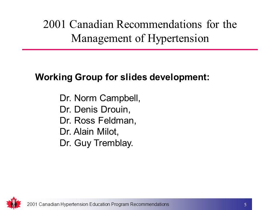 2001 Canadian Hypertension Education Program Recommendations 5 2001 Canadian Recommendations for the Management of Hypertension Working Group for slides development: Dr.