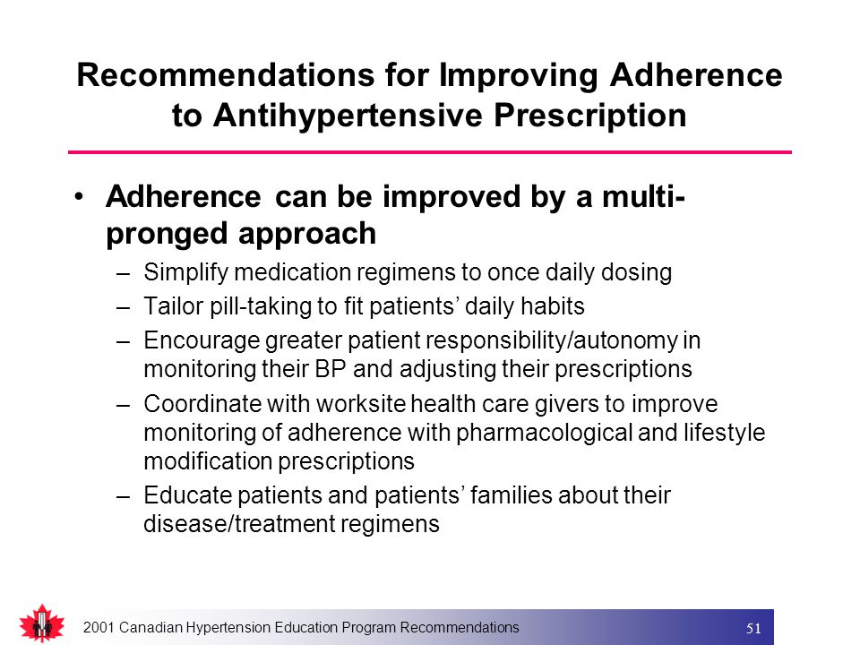 2001 Canadian Hypertension Education Program Recommendations 51 Recommendations for Improving Adherence to Antihypertensive Prescription Adherence can