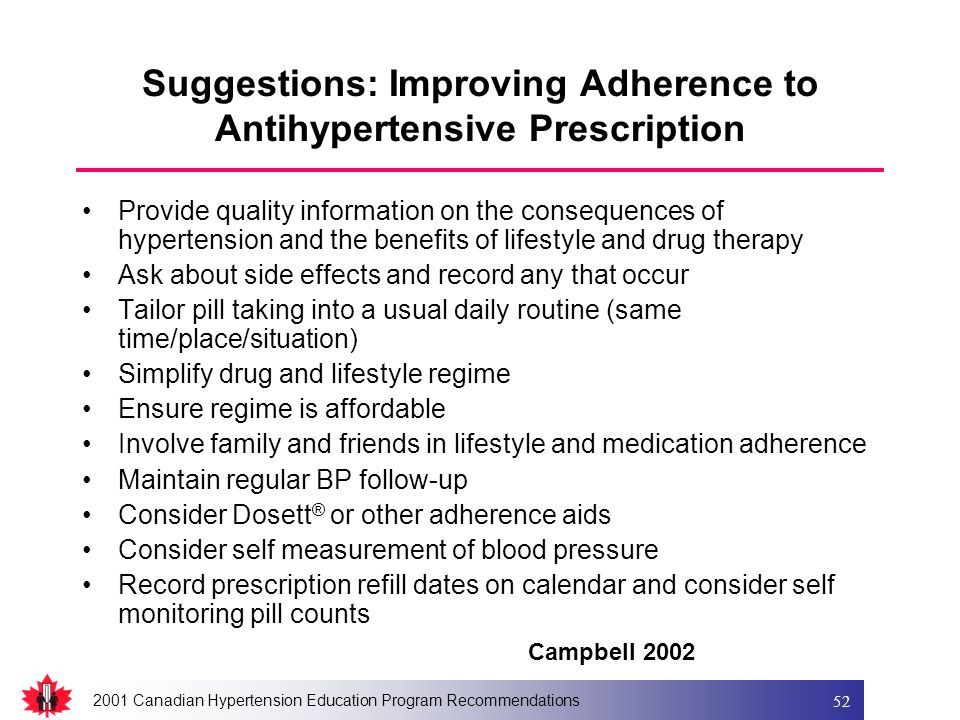 2001 Canadian Hypertension Education Program Recommendations 52 Suggestions: Improving Adherence to Antihypertensive Prescription Provide quality info