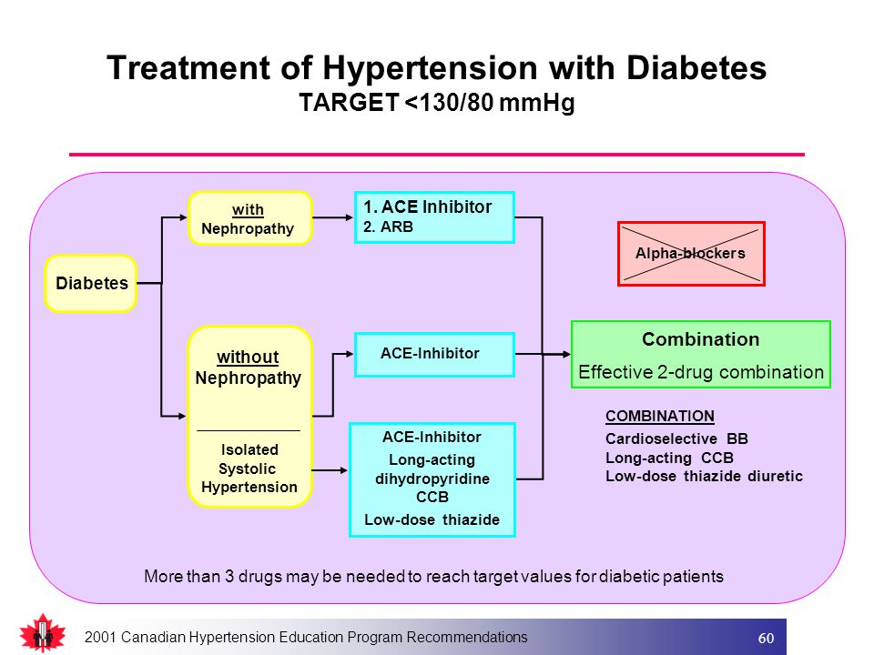 2001 Canadian Hypertension Education Program Recommendations 60 Diabetes with Nephropathy without Nephropathy 1. ACE Inhibitor 2. ARB ACE-Inhibitor Lo