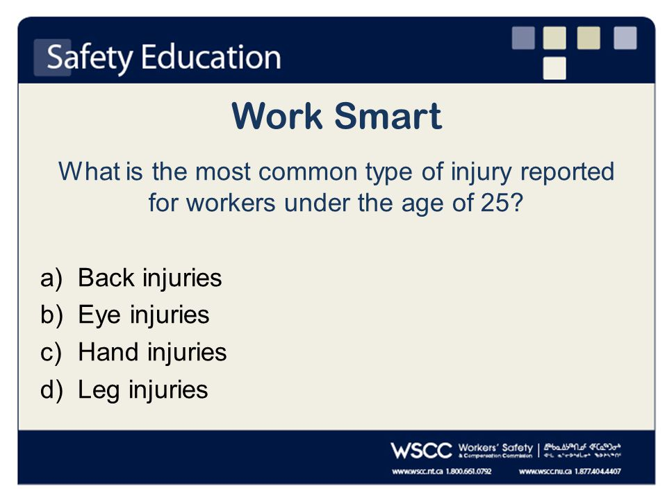 Work Smart What is the most common way workers under the age of 25 injure themselves.