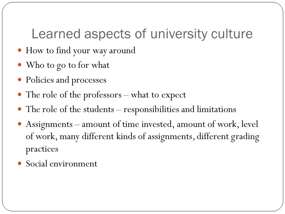 Learned aspects of university culture How to find your way around Who to go to for what Policies and processes The role of the professors – what to expect The role of the students – responsibilities and limitations Assignments – amount of time invested, amount of work, level of work, many different kinds of assignments, different grading practices Social environment