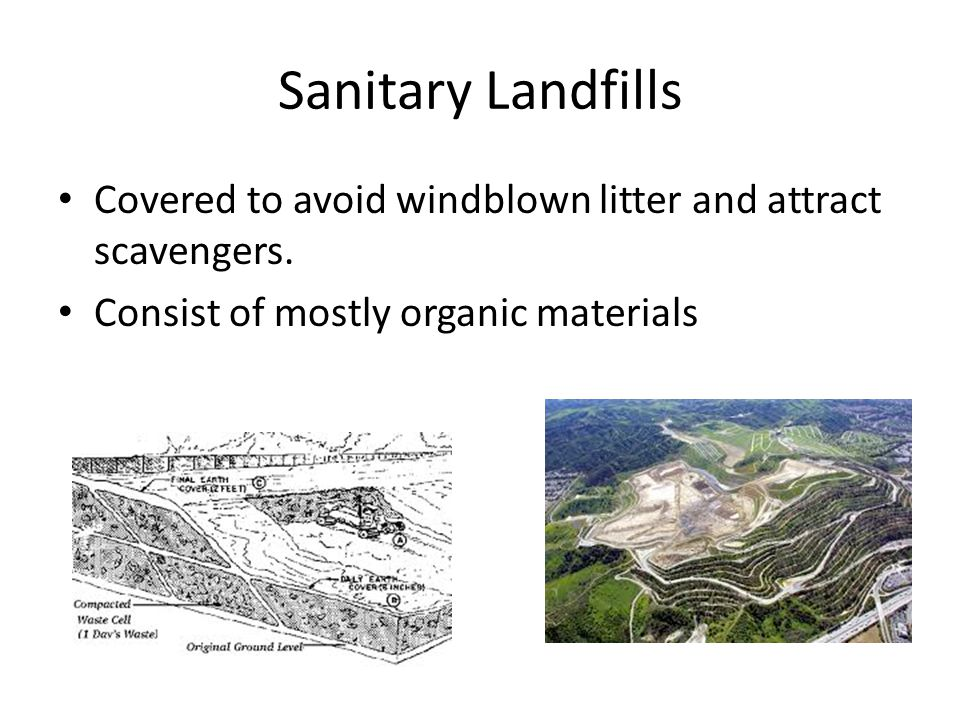 Sanitary Landfills Covered to avoid windblown litter and attract scavengers.