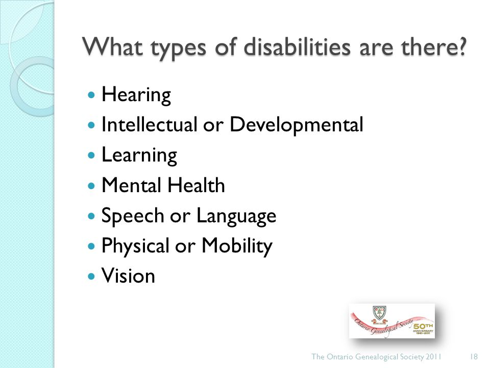 What types of disabilities are there.